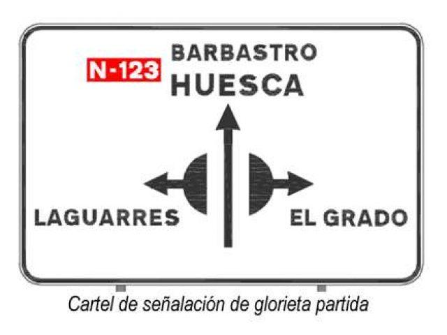 Cartel de señalización de glorieta partida